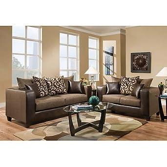 Contemporary Espresso Fabric Exterior Living Room Set & Chenille Seating(2 PCS)
