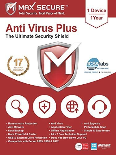 Max Secure Software Antivirus Plus for PC 2019   1 Device   1 Year [PC Online code]