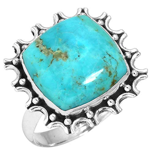 Natural Kingman Turquoise Ring Solid 925 Sterling Silver Jewelry Size 11
