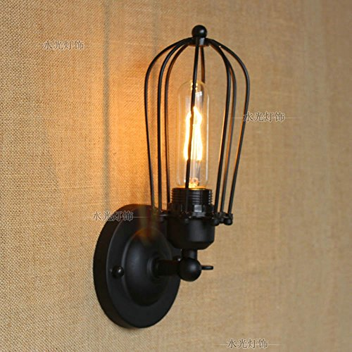 CGJDZMD Wall Sconce Industrial Edison Wire Caged Rustic Metal Wall Lamp Single-Head Retro Wall Light for House Bar Restaurants Coffee Shop Club Loft Decoration Bow 1 Bulb Sconce