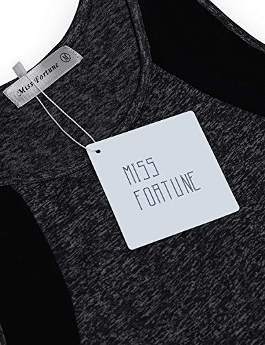 Miss Fortune Tennis Tanks for Women, Moisture Wicking Active Wear Summer Exercise Tshirts Sleeveless Workout Tunic Tops for Leggings for Women Dark Grey XL by Miss Fortune (Image #3)