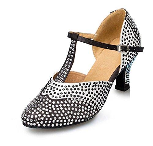 Miyoopark Womens Crystals Satin Dance Shoes Nero