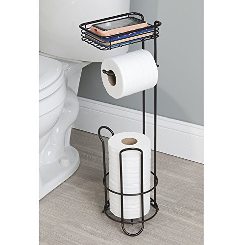Mdesign Free Standing Toilet Paper Holder With Shelf For