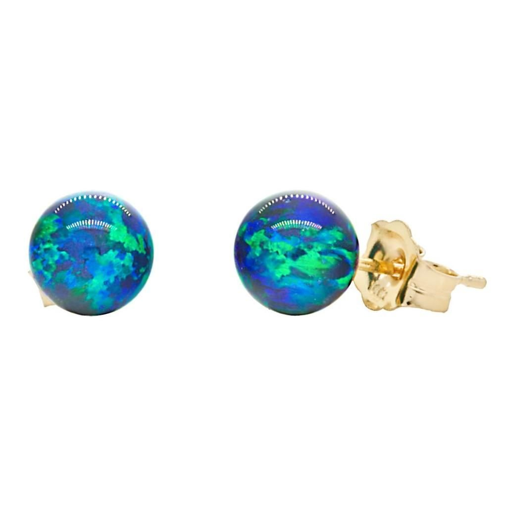 Trustmark 14K Yellow Gold 6mm Blue-Green Peacock Created Opal Ball Stud Earrings, Perrin