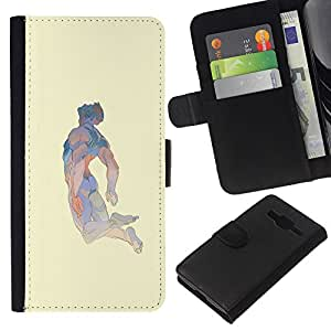 KLONGSHOP // Tirón de la caja Cartera de cuero con ranuras para tarjetas - Arte Hombre Flying abstracto ideal - Samsung Galaxy Core Prime //