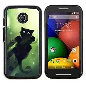 LECELL--Funda protectora / Cubierta / Piel For Motorola Moto E -- Gato Verde --