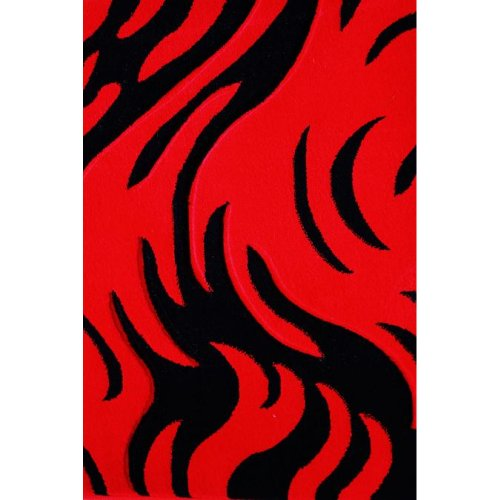 (Geo Rug Collection Geo Collection 170 Geometric Design Area Rug, 5-Feet 4-Inch by 7-Feet 5-Inch, Red)