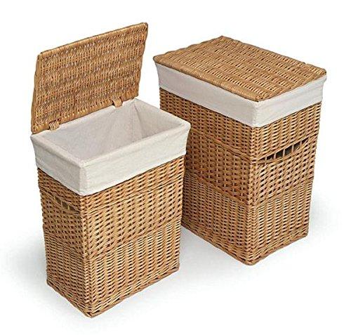 Badger Basket Two Hamper Set with Liners, Natural