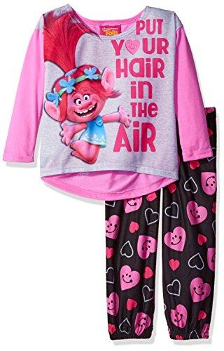 Trolls Big Girls' 2-Piece Fleece Pajama Set, Groovy Love, 8