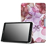 Tab E 9.6 Case - MoKo Ultra Lightweight Slim-shell Stand Cover for Samsung Galaxy Tab E / Tab E Nook 9.6 Inch 2015 Tablet (Fits Both WiFi and Verizon 4G LTE Version), Floral PURPLE