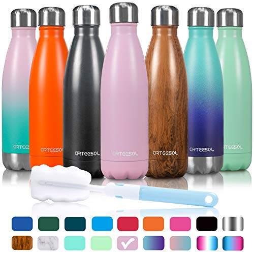 (Arteesol Water Bottle | Cola Shape Bottle | Leakproof Keep Hot&Cold | Double Wall Vacuum 18/8 Stainless Steel Bottle | Narrow Mouth Personalized Texture-For Outdoor Sports Camping Traveling)