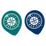 "Amscan Sports and Tailgating MLB Party Seattle Mariners Printed Latex Balloons Decoration, 6 Pieces, Latex, Blue and Green, 12"" by"