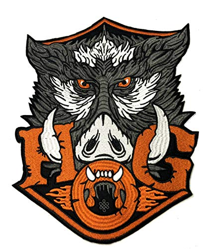 HOG Embroidered Large Jacket Back Patch Motorcycle Biker Club Series Vests Ghost Skull Hog Outlaw Rocker Jumbo Iron or Sew-on Emblem Badge Appliques Application Fabric Patches -