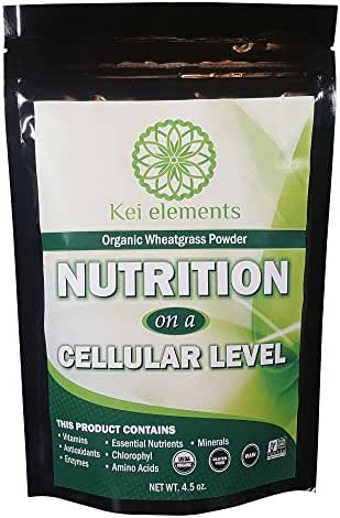 Premium Organic Wheatgrass Powder By Kei Elements - Full Of Vitamins, Antioxidants & Other Essential Nutrients - All Natural, Non-GMO & Gluten Free - Suitable For Vegan & Raw Diets - 4.5 oz