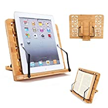 Desktop Book Stands Cookbook Holder Books Rest Reading Stands Tablet Holder Foldable Tray Page Paper Clips Portable Bamboo Bookstand for Books iPad Laptop Textbook Recipe Document Music Piano (Hollow)