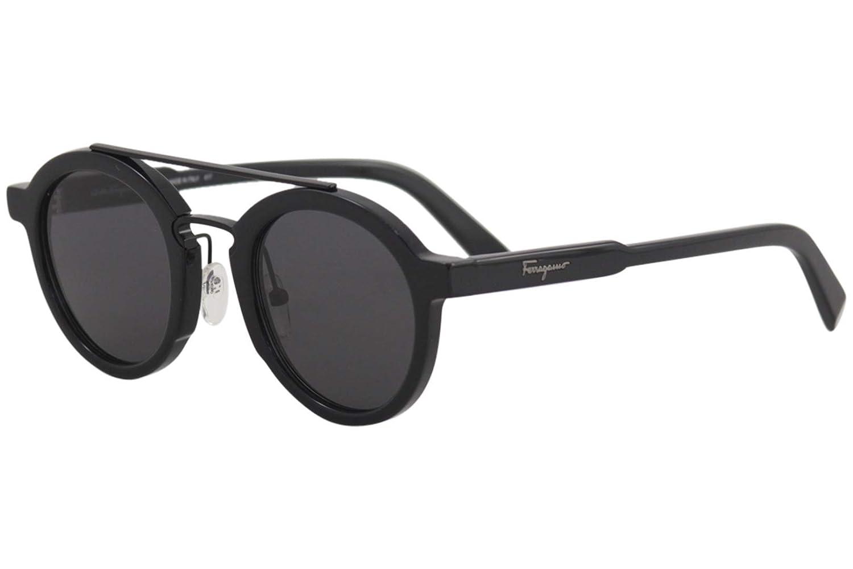 d43ebee8a26 Amazon.com  Salvatore Ferragamo Men s SF845S Black Sunglasses  Clothing