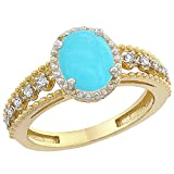 10K Yellow Gold Natural Turquoise Ring Oval 9x7 mm Floating Diamond Accents, sizes 5 - 10