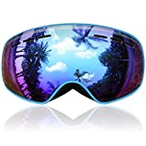 findway Kids Ski Goggles, Snowboard Snow Goggles - Upgraded Magnetic Interchangeable Double Lens,Frameless Anti Fog Over Glasses OTG UV Protection - for Boy Girl Toddler Child Junior Youth Snowboardin