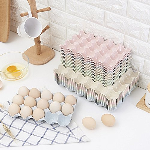 JAMOR 15 Grid Wheat Straw Egg Storage Box Household Eggs Tray Refrigerator Crisper Kitchen Essential (Beige) by JAMOR (Image #5)