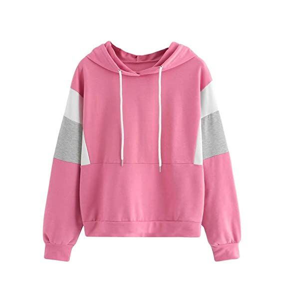 Amazon.com: Womens Sweatshirt Hooded Jacket Crewneck Long Sleeve Sweater Hoodie Pullover Tops Shirt Coat Outwear Fashion Cut and Sew Drawstring Blouse: ...