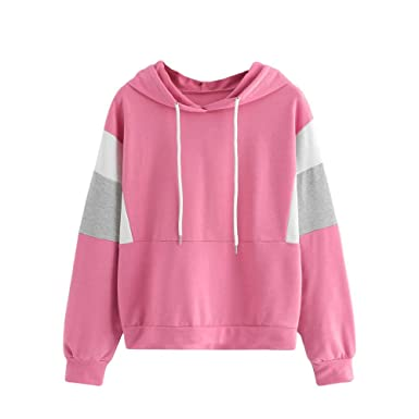 Misaky Womens Hoodie Autumn WinterLong Sleeve Cut and Sew Drawstring Blouse Sweatshirt Top(Pink ,