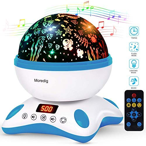 (Moredig Baby Projector with Timer and Remote Built-in 12 Light Songs 360 Degree Rotating 8 Colorful Lights, Romantic Night Lighting Lamp for Birthday, Parties, Bedroom (Blue White))