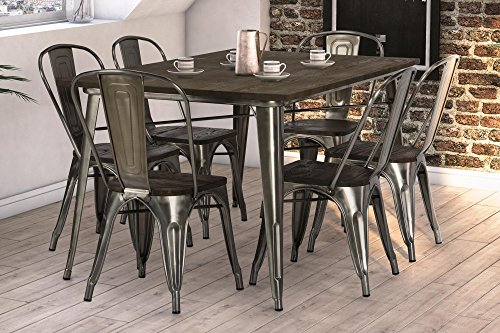 DHP Fusion Dining Set, Includes Fusion Rectangular Dining Table and 6  Fusion Dining Chairs, Distressed Metal Finish for Industrial Appeal, Antique Gun Metal