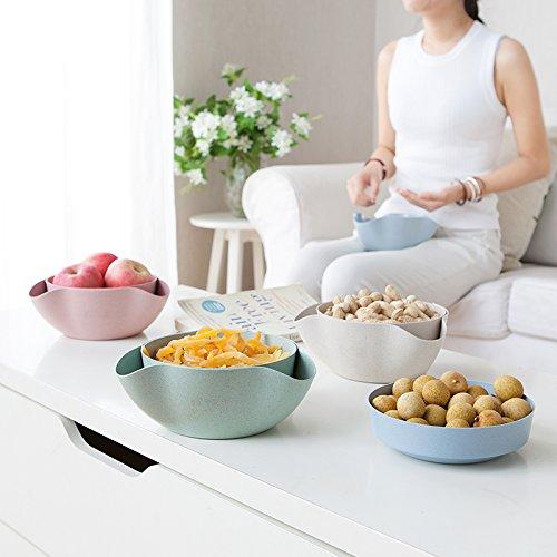 Astra Gourmet Double Dish Nut Bowl/ Pistachio Bowl/ Pedestal Snack Dish/ Olive Nut Server Serving Bowl(Blue)