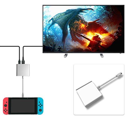 FastSnail HDMI Type C Hub Adapter for Nintendo Switch, Samsung Galaxy S8/S8P, HDMI Converter Cable for Nintendo Switch (Silvery)