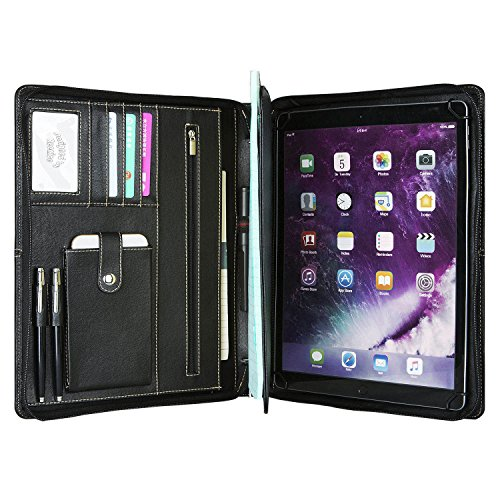 Zippered Multifunction Organizer (Genuine Leather Portfolio Professional Padfolio Zippered Briefcase with Handle, Multi-function Office Organizer Interview Document Holder Business Folder Black for iPad Pro 10.5 inch)