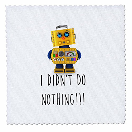 3dRose I Did Not Do Nothing. Innocent Toy Robot Edredón cuadrado, 20,32 x 20,32 cm