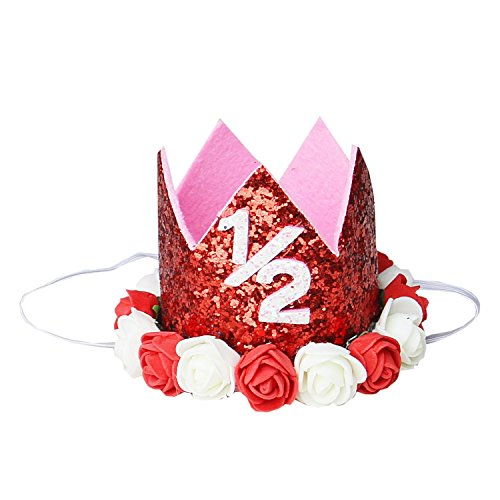 Kirei Sui Baby Red White Rosettes Crown Headband 1/2 Crown