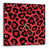 Lee Hiller Designs RAB Rockabilly – Coral Red and Black Leopard Print – 10×10 Wall Clock (dpp_32469_1) Review