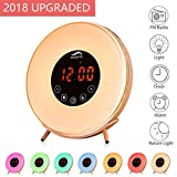 Wooden Sunrise Radio Alarm Clock - Vicrays Digital LED Alarm Clock for Bedrooms, Bedside and Kids, FM Radio, 7 Colors, 6 Natural Sounds, Touch Control with Snooze Function for Heavy Sleepers