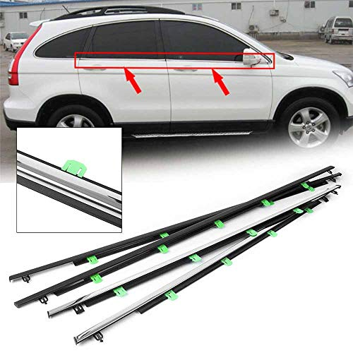 - Hotwin 4 Pcs Chrome Outside Window Moulding Trim Weatherstrip Seal Belt Compatible with Honda CRV 2007-2011