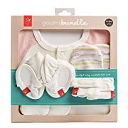 goumikids Newborn Organic Cotton Gift Set: Mitts, Booties, and Jamms Baby Gown (Geo Wave (Pink))