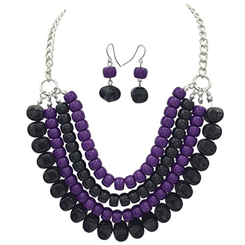 4 Row Layered Bib Bubble Statement Silver Tone Necklace & Earrings Set (Purple & Black) -
