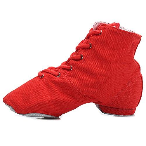 Roymall Men and Womens Boost Dance Sneaker/Modern Jazz Dance Ballroom Performance Dance-Sneakers Sports Shoes,Model JS Red