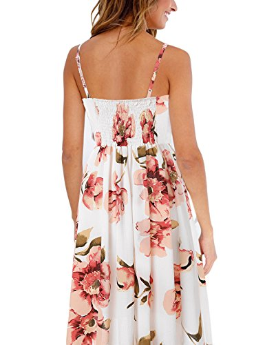 Dress Spaghetti Sunflower Floral Midi Blooming Button Pink Pocket with Women's Strap Jelly w8nSIqB