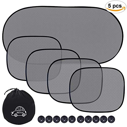 Car Sun Shade for Side and Rear Window (5 Pack), UV Protection Rear/Side Window Sunshade Mesh Back Car Window Visor with Suction Cup Blocks Glare and UV Rays Sun Protector for Children Baby Kids Pets
