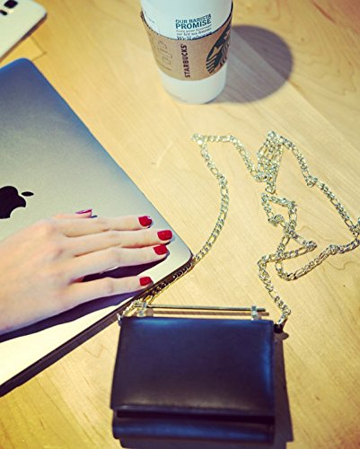 DANTTAN Women Crossbody Wallet Trifold Soft Calfskin Genuine Leather Handbag Black Photo #4