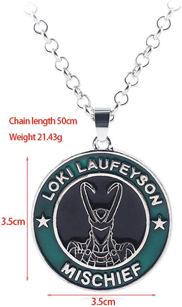 Uiipx Nordic God Avengers 4 Logo for Men and Women Loki Keychain Necklace Superhero Cosplay Necklace