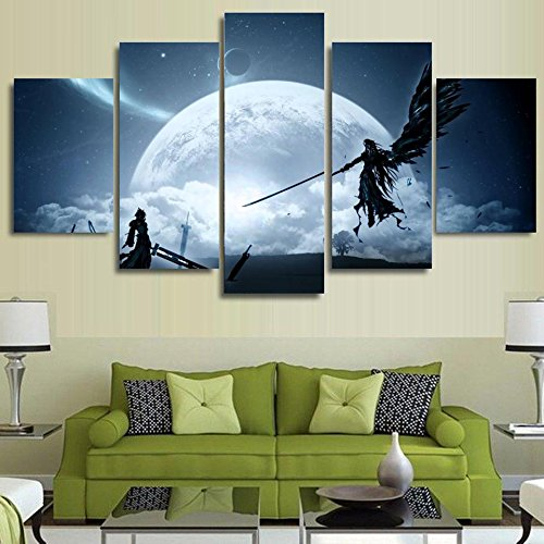 JESC 5 Piece Printed canvas painting Final Fantasy Game Animation Characters Scene home decor print poster wall art