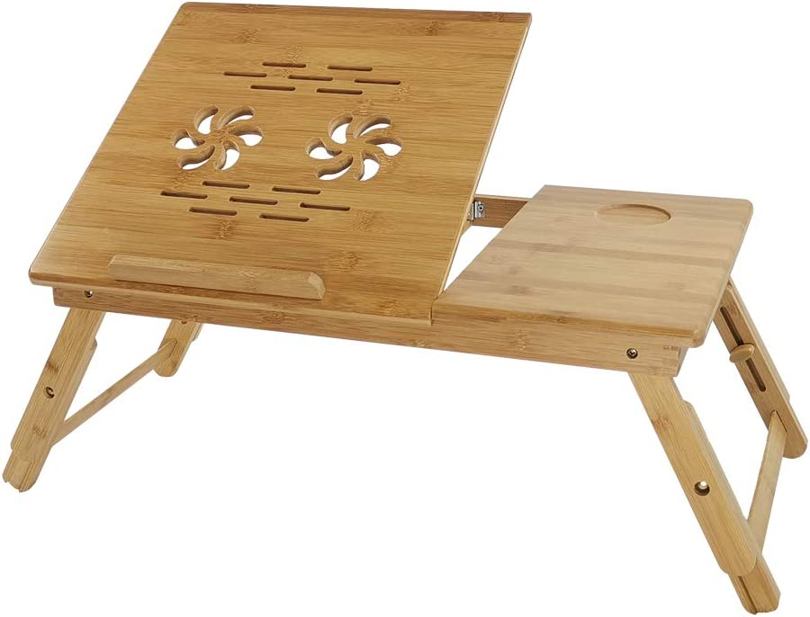 KKTONER Laptop Stand Lap Desk Table with Adjustable Leg 100% Bamboo Flower Pattern Foldable Breakfast Serving Bed Tray Natural