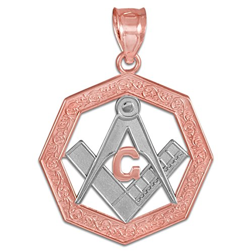 10 ct 471/1000 Deux Tons Or Rose Octagonal Masonic Pendentif Collier (Livre Avec un 45 cm Chaine)