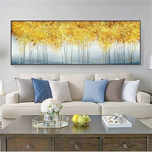 抽象ゴールデンマネーツリーポスターと版画壁アートキャンバス絵画壁アート写真用リビングルームの装飾50×150センチいいえフレーム