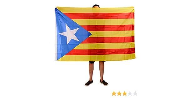Bandera Estelada Catalana 180cm x 120cm. Bandera Catalana Independentista: Amazon.es: Jardín