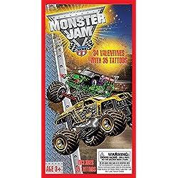 Paper Magic 34CT Deluxe - Tattoos Monster Jam Kids Classroom Valentine Exchange Cards