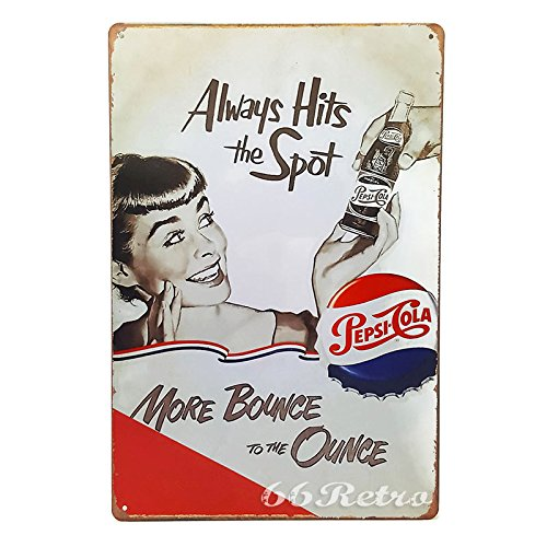 Embossed Sign - 66Retro Always Hits the Spot, Pepsi Cola, Vintage Retro Metal Tin Sign, Wall Decorative Sign, 20cm x 30cm