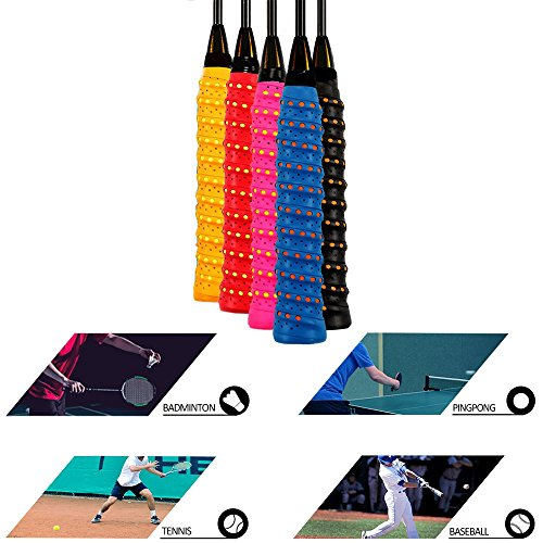 Racket Grip Anti Slip Perforated Super Absorbent,Tennis Racquet Replacement Overgrip Tape - Multi-purpose Anti-slip Self-stick Grip Wrap, soft, absorb moisture and anti-slip,fit pretty much any handle by We Moment